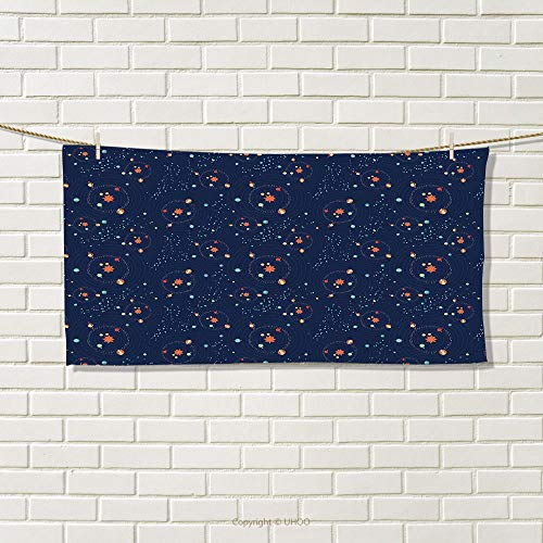 smallbeefly Astrology Sports Towel Solar System Planet Astronomy Cosmos Galaxy Mysterious Universe Absorbent Towel Dark Blue Orange Turquoise Size: W 12'' x L 35.22'' by smallbeefly