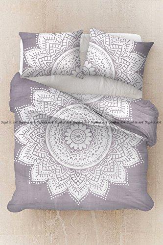 Sophia Art Exclusive Queen Size Grey Flower Ombre Handmade Bohemian Cotton Mandala Duvet Cover with Pillowcases Mandala Doona Cover, Donna Cover Indian Duvet Set (Grey)
