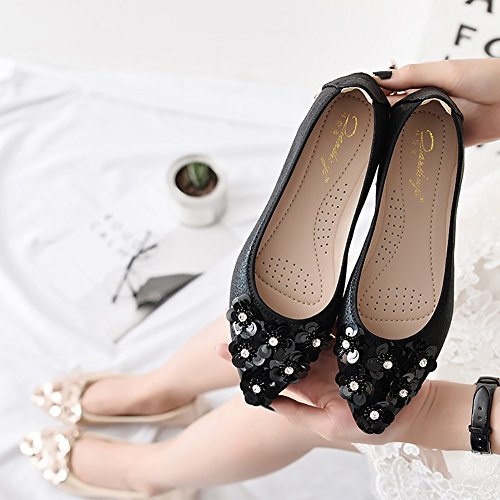 Meeshine Femmes Pliable Doux Orteil Pointu Ballerines Strass Confort Slip Sur Plat Chaussures Noir 02