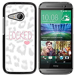Caucho caso de Shell duro de la cubierta de accesorios de protección BY RAYDREAMMM - HTC ONE MINI 2 / M8 MINI - Heart Leopard Pattern Love Text