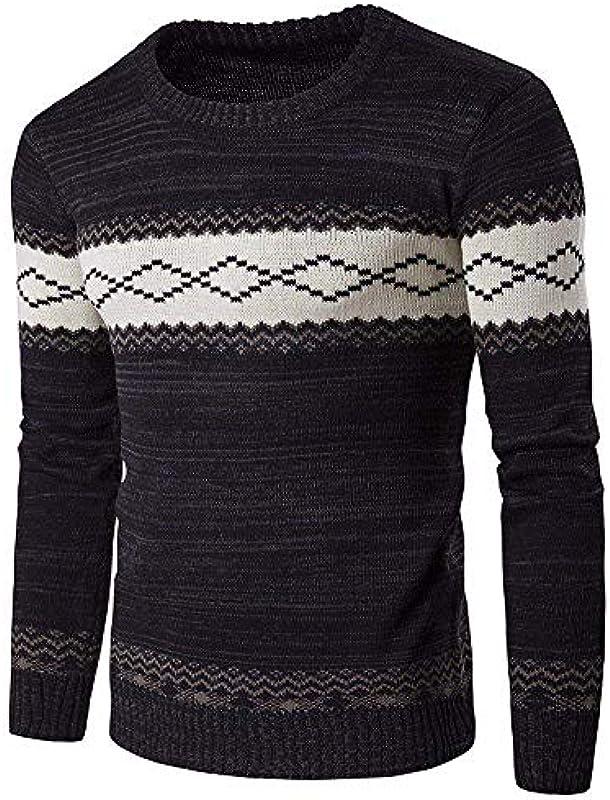 Męski sweter dziergany sweter elegancki sweter modny modny nadruk dzianina wiosna jesień długi rękaw okrągły dekolt sweter dziergany: Odzież