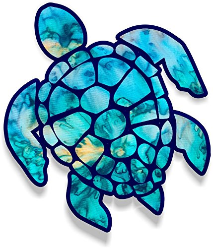 Vinyl Junkie Graphics 3 inch Sea Turtle Sticker for Laptops CupsTumblers Cars and Trucks Any Smooth Surface (Cyan Dream) ()