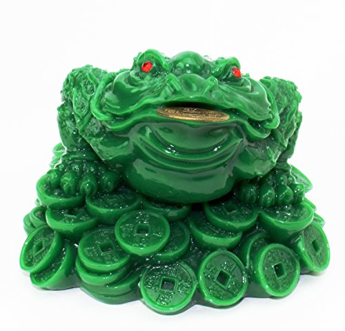 een Money Frog Coin Toad/Chan Chu Chinese Charm of Prosperity Home Decoration Gift (Idea for Office Desk, Computer, Book/TV Shelf, and Cashier Registration Area Display) G16423 (Feng Shui Toad)