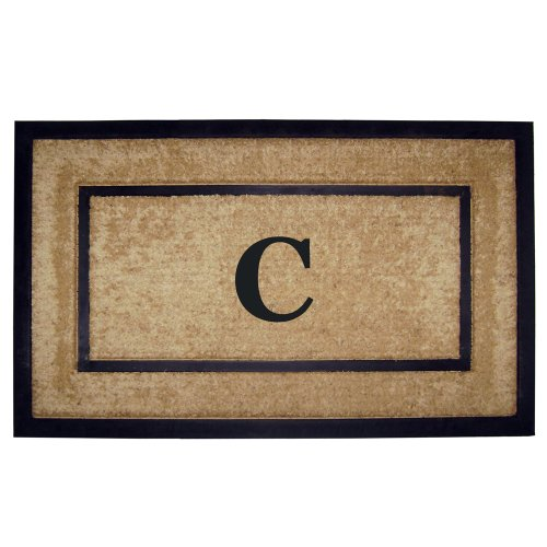 Creative Accents Single Picture Black Frame with Coir Rubber Border Dirt Buster Mat, 22 by 36-Inch, Monogrammed C (Monogram Coco Mat)