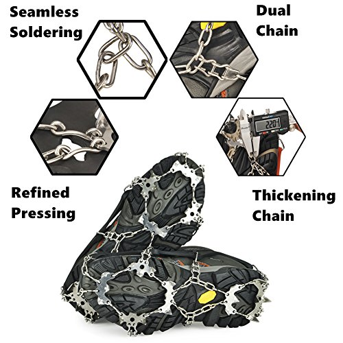 Universal Crampons Snow Traction Cleats 19 Teech Claw Stainless Steel Chain Anti Slip Microspikes Ice Crampons for Hiking Climbing