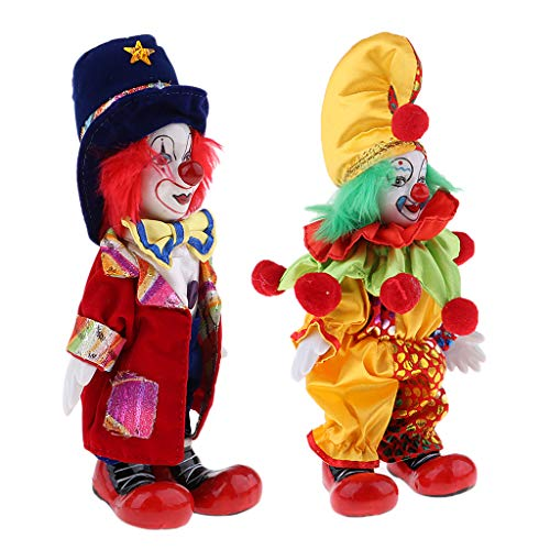 7inch Funny Clown Porcelain Joker Doll 2pcs, Valentin Gift for Him or Girlfriend, Halloween Decoration Home Table Desk Top Ornaments]()
