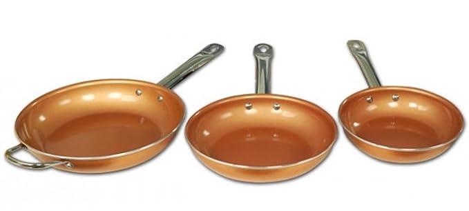 Sartenes starlyf Copper Pan - Lote 3 sartenes anti adhesivas con partículas cobre - inducción - sin PFOA: Amazon.es: Hogar