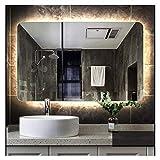ZfgG Bathroom Mirror Frameless Lamp Mirror Backlight Mirror Anti-Fog Mirror with Light (Color : Rounded Yellow Light, Size : 50cmX70cm)