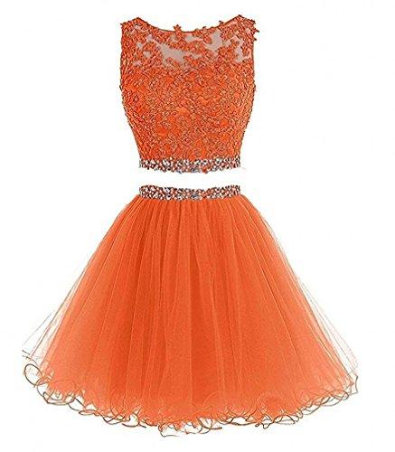 Piece short orange Evening Open Beaded Two Dress Tulle Prom back BD122 Dress Bessdress wP7tqHt