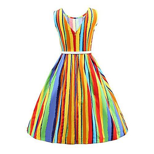 Novia's Choice Cocktail 1950s Stripe Women Party Dress Swing Colorful Boatneck Vintage Dress Classy ffIrwdq0