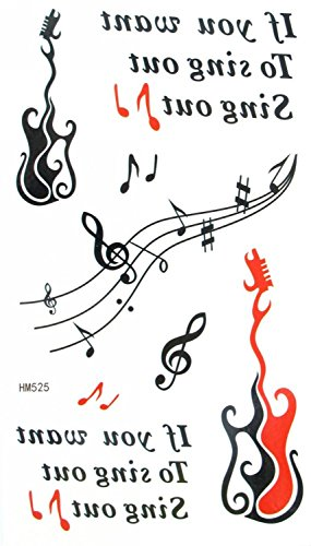 - MapofBeauty Red and Black Guitar Music Temporary Waterproof Tattoo Body Art Sticker (2 pcs/lot)