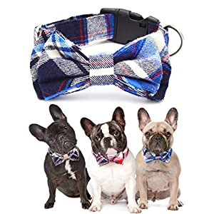Freezx Dog Cat Christmas Bow Ties, 100% cotton Adjustable Bow Tie Big Dog Puppy Cat Cute Fashion Bow Tie Red Yellow Blue Plaid Stripe Pattern
