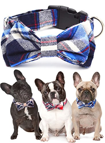 Dog Cat Christmas Bow Ties, 100% cotton Adjustable Bow Tie Big Dog Puppy Cat Cute Fashion Bow Tie Red Yellow Blue Plaid Stripe Pattern