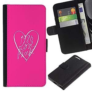 A-type (Pink Look Heart Clean Text Minimalist) Colorida Impresión Funda Cuero Monedero Caja Bolsa Cubierta Caja Piel Card Slots Para Apple (5.5 inches!!!) iPhone 6+ Plus / 6S+ Plus