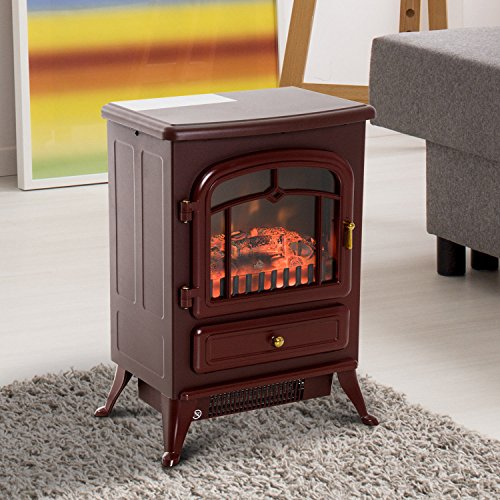 HomCom 16″ 1500W Free Standing Electric Fireplace Wood Burning Portable Stove Heater – Red