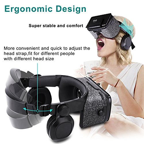 3D VR Headset With Remote Controller for 3D Movies & VR Games, Skin-Friendly Lightweight Comfortable Virtual Reality Headset with Stereo Headphone, Fit for 4.7''-6.2'' iPhone and Android Smartphones by EXCLEAD (Image #4)