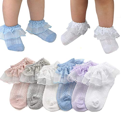 (Epeius Little Girls' Princess Lace Top Dressy Socks Kids Girls Breathable Sox for 8-10 Years (Pack of 6),White/Off white/Grey/Duty Pink/Blue/Purple)