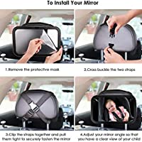 Secure /& 100/% Shatterproof Adjustable Straps Tilt Function Kids Kits Baby Backseat Mirror Clear View of Infant In Rear Facing Car Seat 360/° Rotation Rear View Car Seat 30x19cm