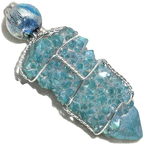Aqua Aura Spirit Quartz Wire Wrapped Pendant in Sterling with Opalescent Foil Bead by Puppylove