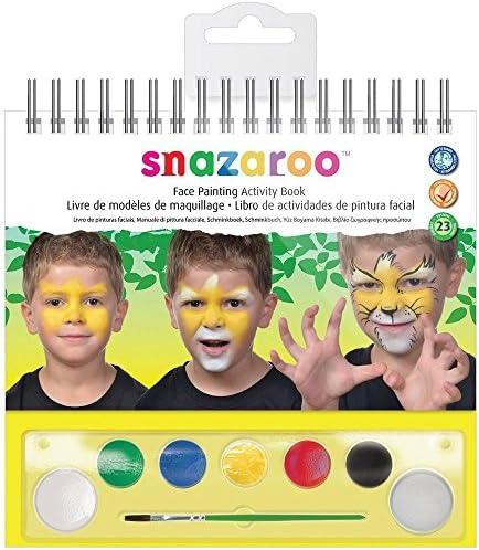 Snazaroo cara pinta caras conjunto, la paleta de maquillaje con pincel, esponja y 1 libro de maquillaje, 6 colores: Amazon.es: Belleza