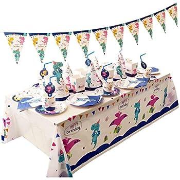 Banner Vajilla de cumplea/ños Infantil para 16 Invitados Servilletas Decoracion de Fiesta Dinosaurio Vasos Platos Amycute 65 pcs Vajilla de Dinosaurio Desechable
