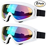 ski package youth - Ski Goggles, 2 Pack Snowboard Goggles Skate Glasses, Motorcycle Cycling Goggles for Kids, Boys & Girls, Youth, Men & Women, with UV 400 Protection, Wind Resistance, Anti-Glare Lenses