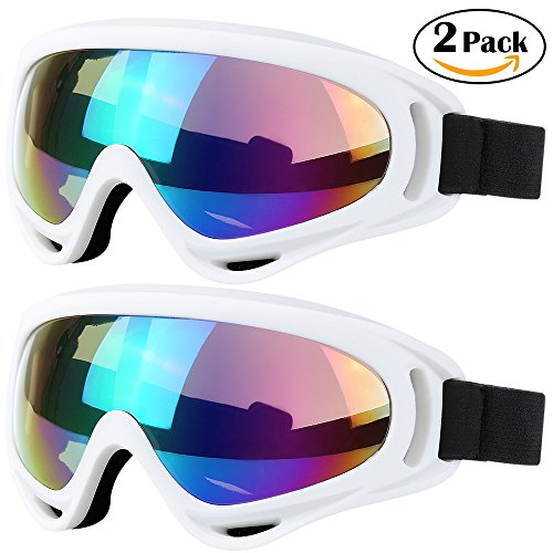 Motorcycle Snow Mens (Ski Goggles, 2 Pack Snowboard Goggles Skate Glasses, Motorcycle Cycling Goggles for Kids, Boys & Girls, Youth, Men & Women, with UV 400 Protection, Wind Resistance, Anti-Glare Lenses)
