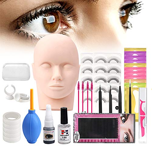 Lash Eyelash Extension Kit: Professional Mannequin Head Training For Beginners Eyelashes Extensions Practice Cosmetology Esthetician Supplies with Mink Individual Eye Lashes Glue Tweezers Tools Case