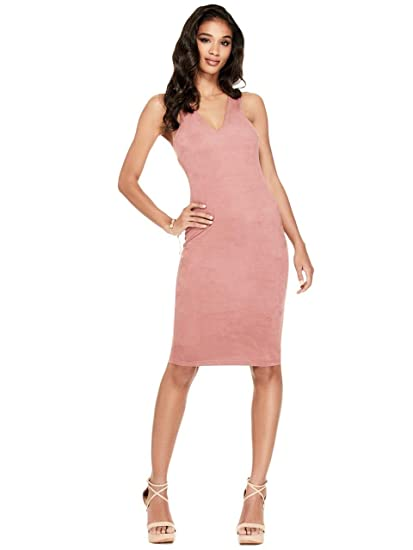 e457ab76c2 G by GUESS Women s Eliana Faux-Suede Racerback Dress Pink at Amazon ...