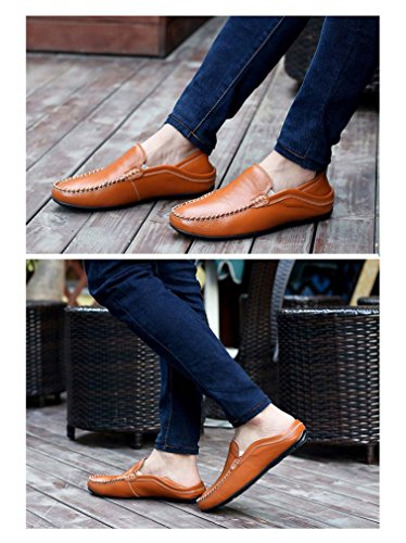 Chic Leather with Loafers UPSUN fur Faux Genuine Brown Business Lining Driver Men's q5xtg4