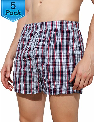 5 Pack Plaid Woven Cotton Boxer Shorts Elastic Trunk Underwear Button Fly for Big Boys M