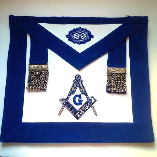 MA-2 Master Mason Blue Velvet With Silver Bullion Apron Silver Tassels by Equinox