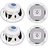 4) LANZAR AQ5CXW 5.25 800W 2-Way Marine Boat Speakers Water Resistant White