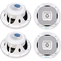4) LANZAR AQ5CXW 5.25 800W 2-Way Marine Boat Speakers Water Resistant White