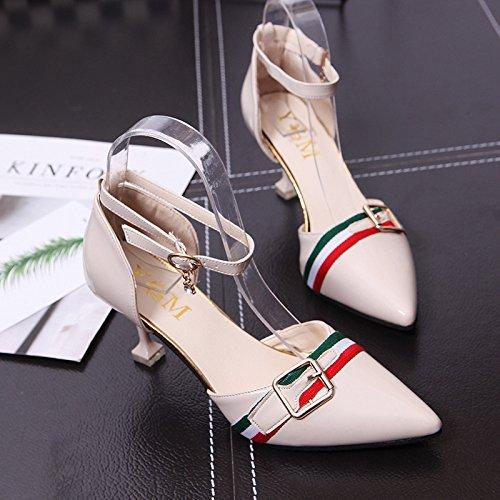 Zapatos Beige mujer punta de estilo 37 hebilla r7qZrwfv