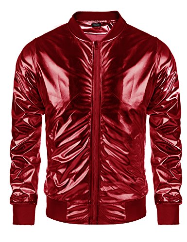 Coofandy Men's Metallic Christmas Varsity Jacket Button Zip-up Xmas Baseball Bomber