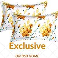 "BSB HOME Cotton 2 Piece Cotton Pillow Cover Set - 20""x30"", White and Yellow"