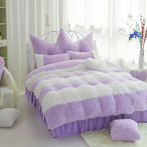 SAYM Home Bedding Sets Korean Fashion Elegant Lovely Style Soft Velvet King Size Set For Lovely Princess Teen Girls, Pricess,Lady 100% Polyester Duvet Cover, Bed Skirt, Shams Set 4Pieces