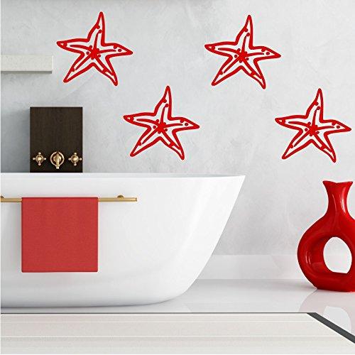 4 Starfish Luxury Wall Sticker Bathroom Decal Transfer