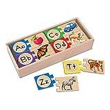Melissa & Doug Self-Correcting Alphabet Letter Puzzles, Developmental Toys, Wooden Storage Box, Detailed Pictures, 52 Pieces, 7.62 cm H × 34.925 cm W × 14.605 cm L