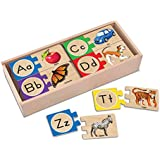 Melissa & Doug Self-Correcting Alphabet Letter Puzzles, Developmental Toys, Wooden Storage Box, Detailed Pictures, 52 Pieces, 3″ H × 13.75″ W × 5.75″ L