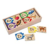 Melissa & Doug Self-Correcting Alphabet Letter Puzzles, Developmental Toys, Wooden Storage Box, Detailed Pictures, 52 Pieces, 7.62 cm H × 34.925 cm W × 14.605 cm L