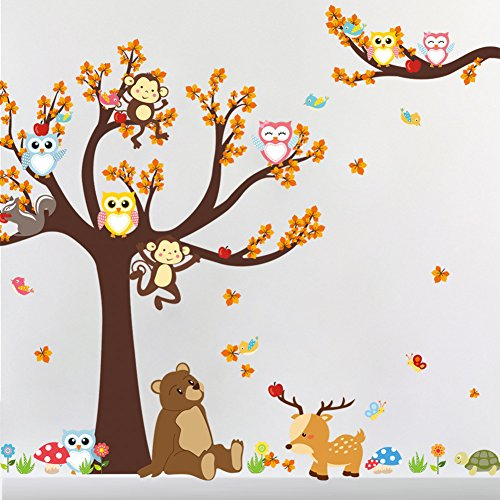 Amaonm Creative Cartoon Family Owls On The Brown Tree Wall Decals Removable Wall Stickers DIY Wall Art Decor 3D Murals Animals Wallpaper for Nursery School Kids Baby Bedroom Bathroom Decoration