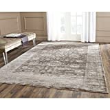 Safavieh VTG431B-9 Vintage Collection Brown and Ivory Area Rug, 9-Feet by 12-Feet