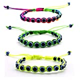 MyevilEye Colorful Bangle Braided String Cord Evil Eye Bracelet For Kids and Adults