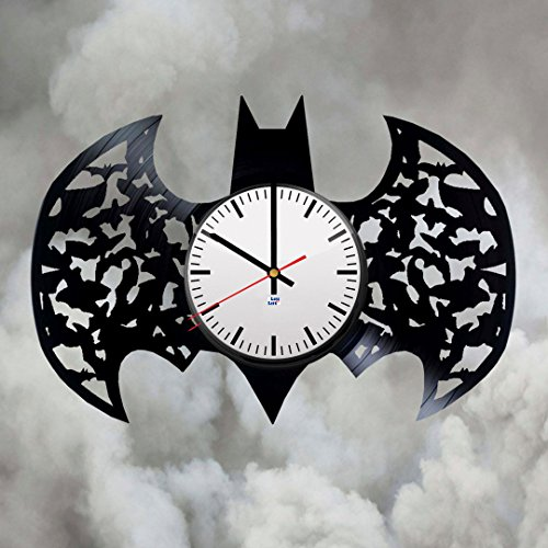 Modern Vinyl Record Wall Clock With Batman Logo Design - Unique Living Room or Bedroom Wall Decor - Original Gift Idea For Adults, Boys and Girls - Exclusive DC Comics Fan Art