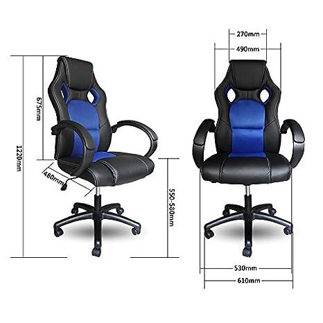 Vingo® Sillón de director con reposabrazos acolchado Comfort Racing Chair Capacidad de carga 200 kg Ergonomic: Amazon.es: Hogar