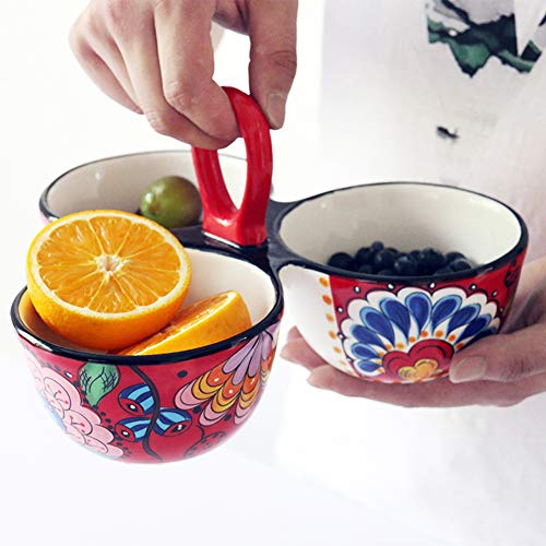 - Creative Ceramic Three Bowls, Multi-function Fruit Salad Snack Bowl, Bright Color Hand-painted Craft, Bowl With Handle