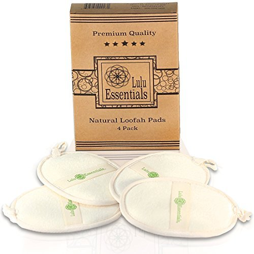 - Lulu Essentials Natural Loofah Pads (4 Pack) Large Bath Body Sponge, Shower Scrub, Eco Friendly Luffa