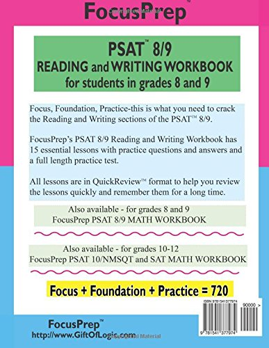 PSAT 8/9 READING and WRITING Workbook: for students in grades 8 ...